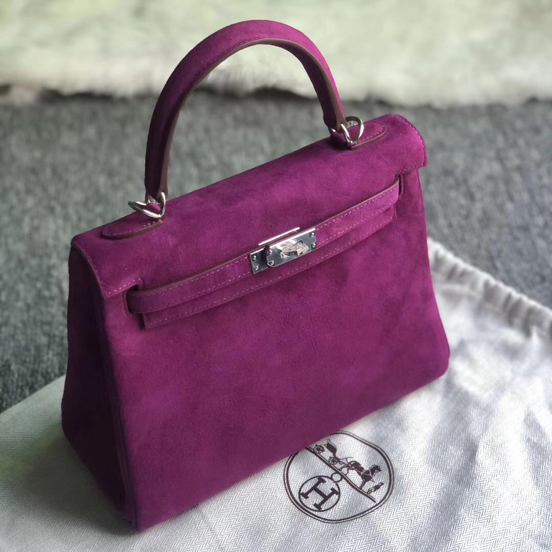 Hong Kong Hermes Kelly 25cm 麂皮 羊皮反絨 P9海葵紫 Anemone