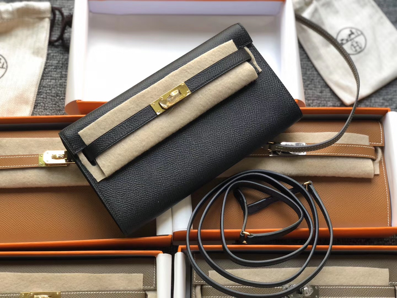 USA Hermes woc Portefeuille Kelly Classique To Go CK89 black