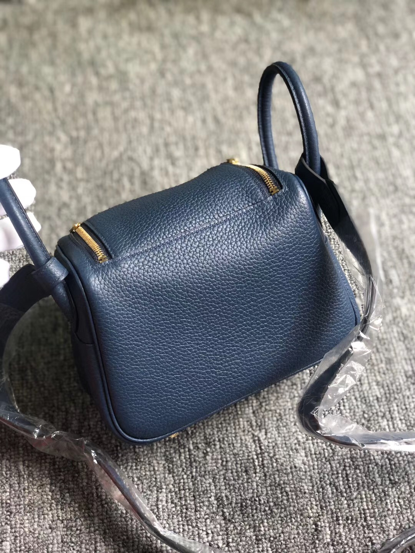 Hong Kong Hermes Lindy Mini taurillon Clemence CK73 Blue Sapphire