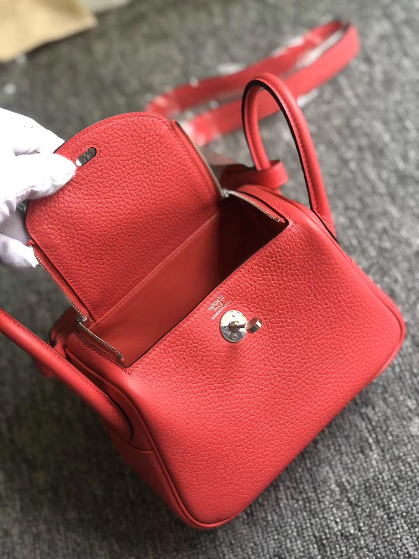 Hong Kong Hermes Lindy Mini taurillon Clemence I6 極致粉 Rose Extreme