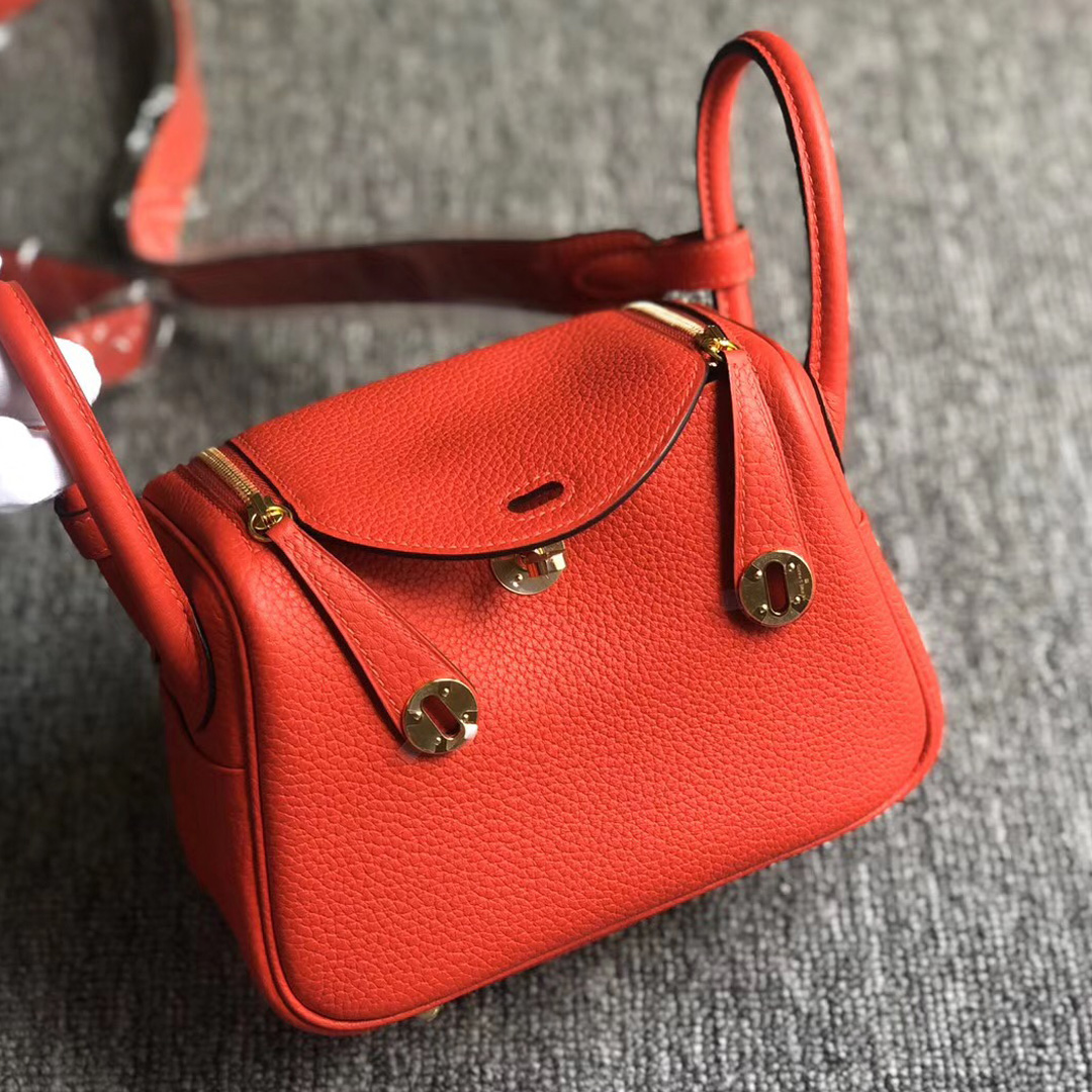 Hong Kong Hermes Lindy Mini S3 Rose de coeur 心紅色 taurillon Clemence