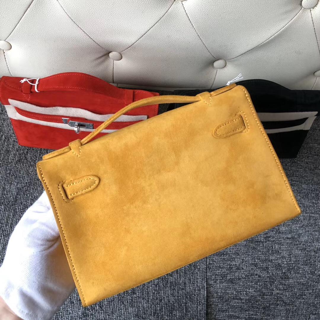 臺灣臺北市 Hermes MiniKelly Pochette 麂皮 羊皮反絨 9D Amber 琥珀黃