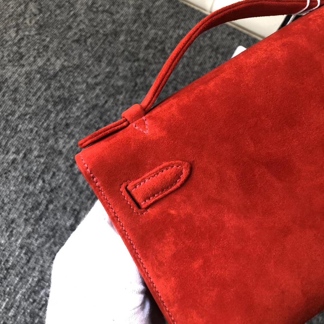 Macao Hermes MiniKelly Pochette 羊皮反絨 S3心紅色 Rose De Coeur