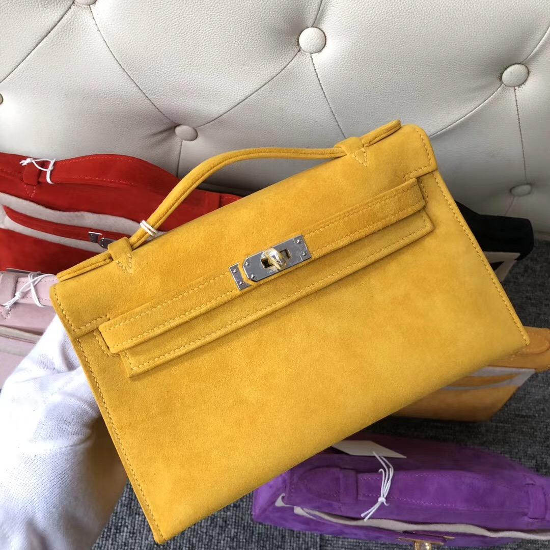 Macao Hermes MiniKelly Pochette 麂皮 羊皮反絨 9D Amber 琥珀黃