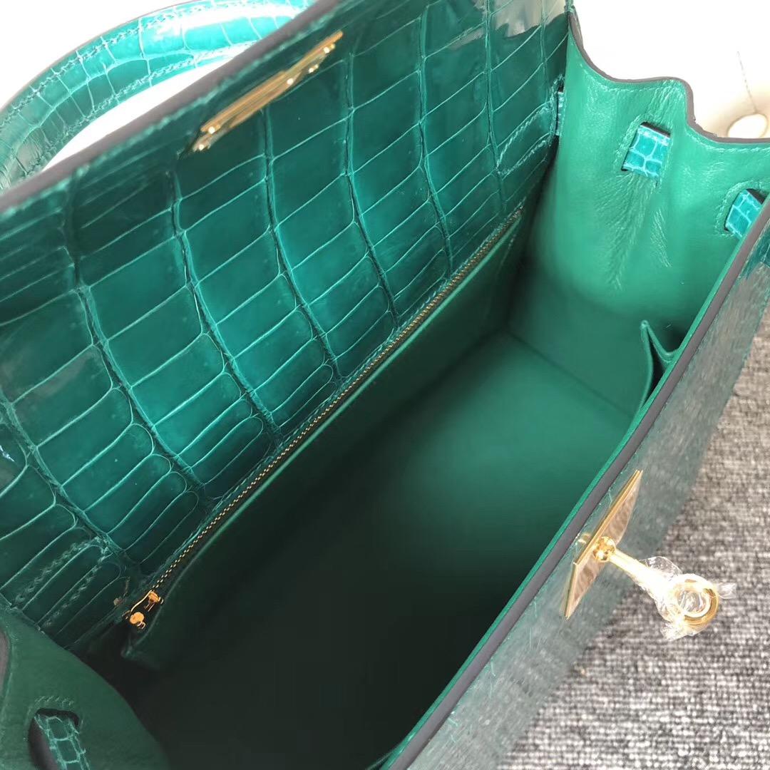 香港西貢區 Hermes Kelly 25cm 倒V澳洲灣鱷 6Q翡翠綠Vert Emeraude