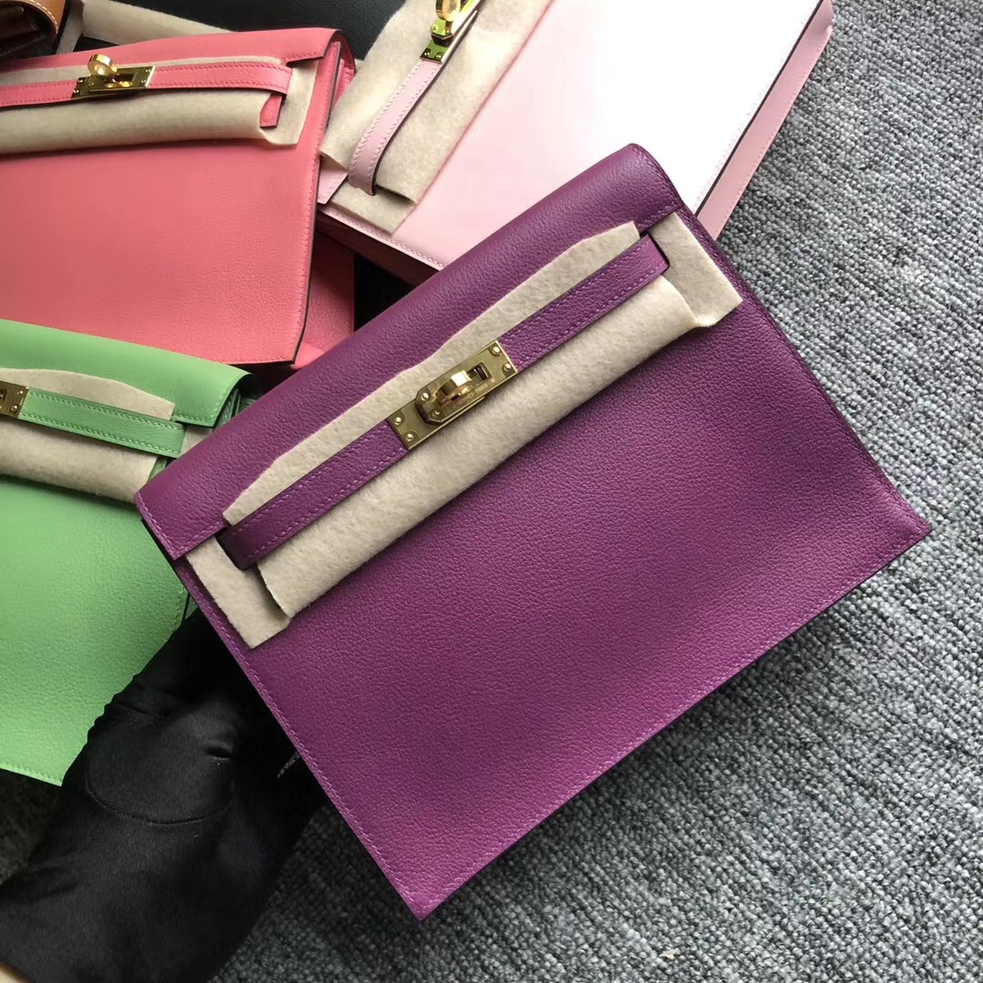 愛馬仕跳舞包 Qatar Kuwait Hermes Kelly Danse Evercolor CK37 Gold