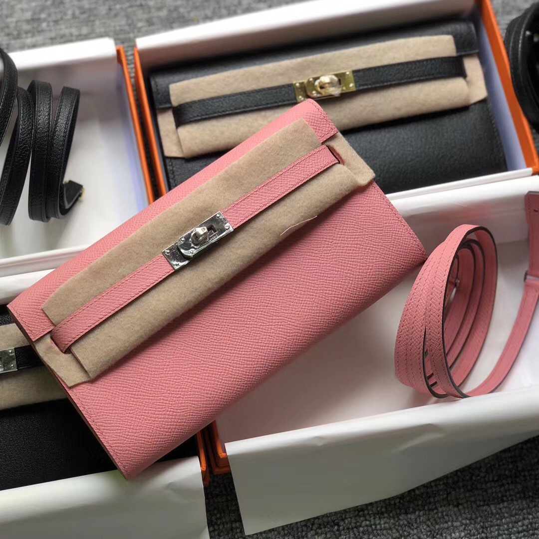 Hermes Portefeuille Kelly Classique To Go epsom 1Q Rose Confetti