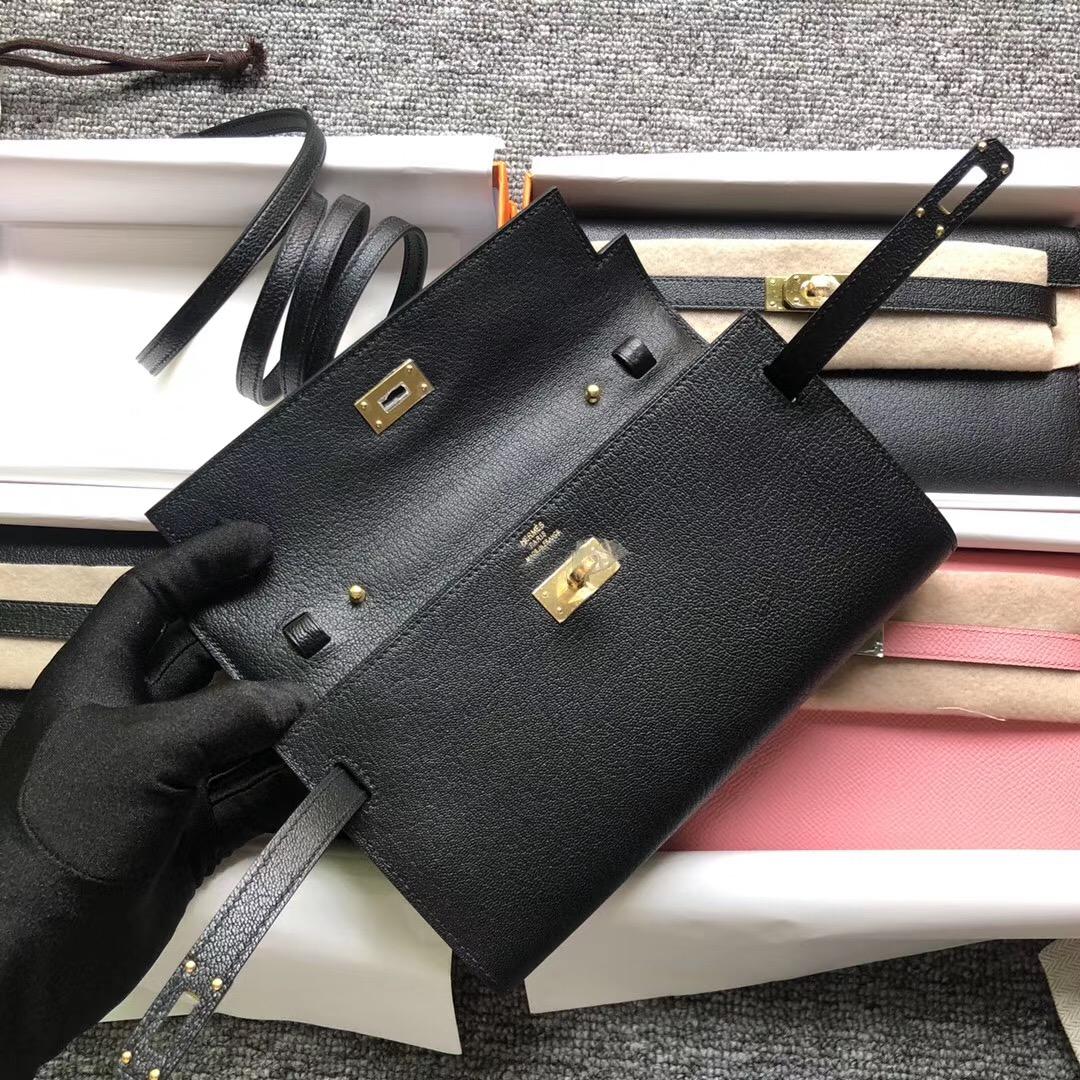 Hermes Portefeuille Kelly Classique To Go Chevre CK89 黑色 Black 銀扣