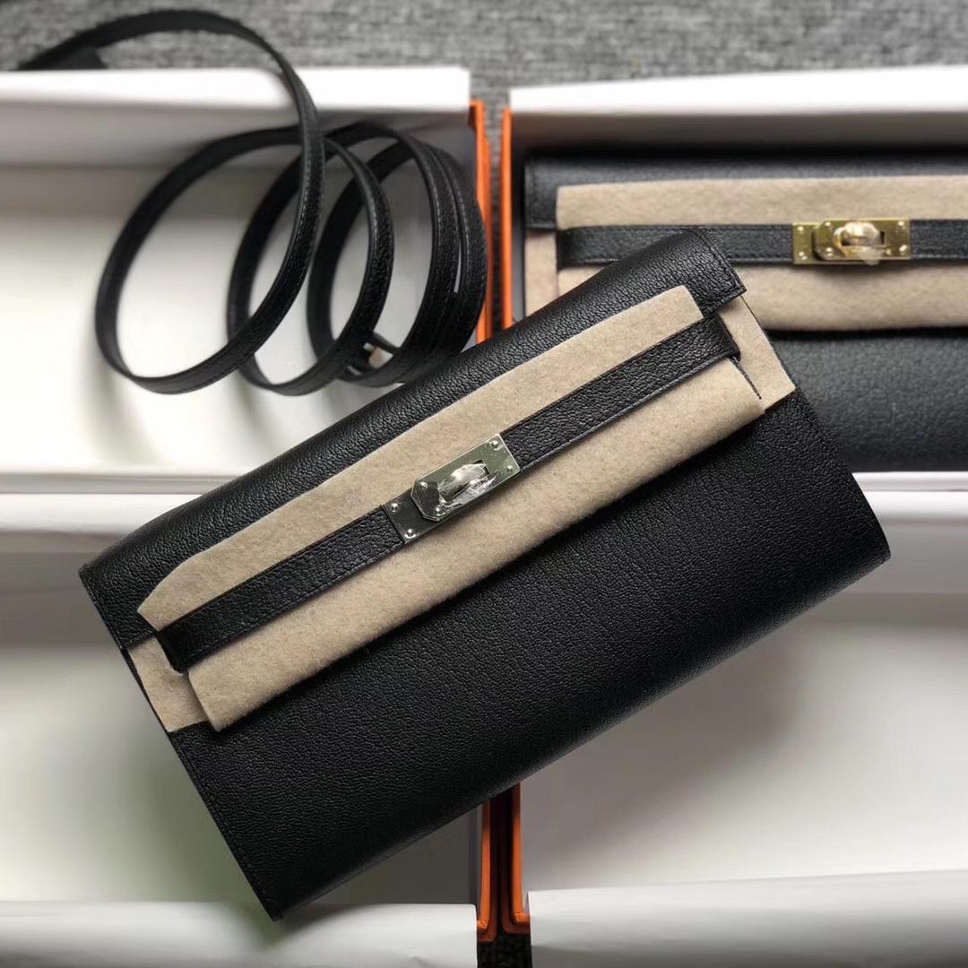 California USA Hermes Portefeuille Kelly Classique To Go Chevre CK89 Black
