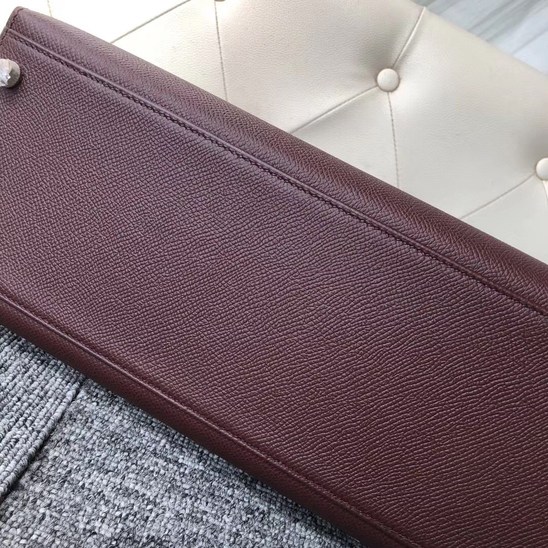 香港淺水灣愛馬仕 Hermes Kelly 32cm Epsom CK57 Bordeaux 波爾多酒紅