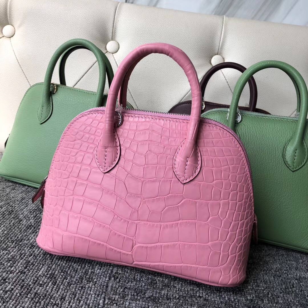 Hermes mini bolide美洲鱷Matte Alligator Crocodile 5P Pink 櫻花粉