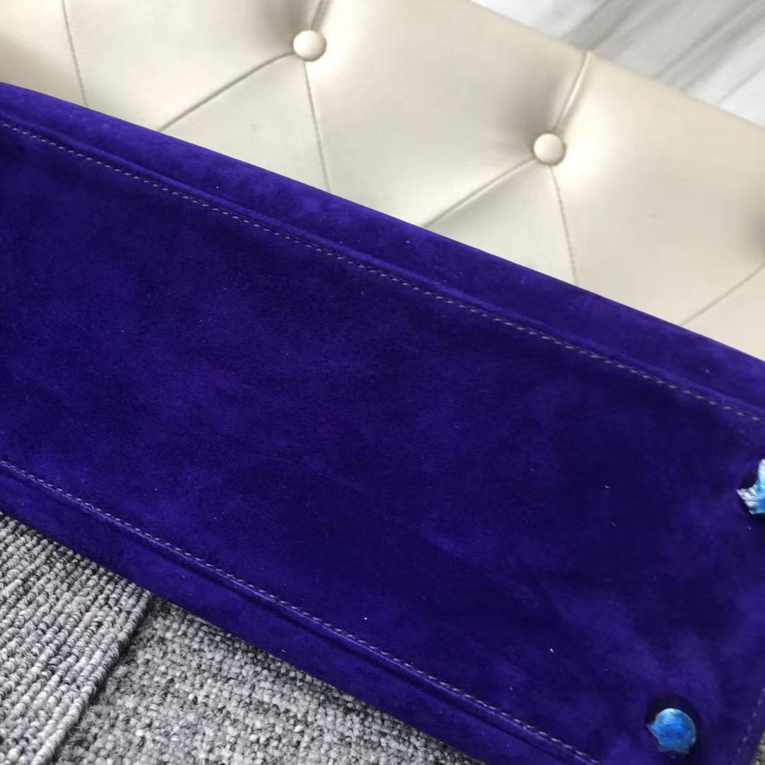 Hermes Kelly 28cm Sellier 外縫麂皮羊皮反絨 7T電光藍Blue eletric