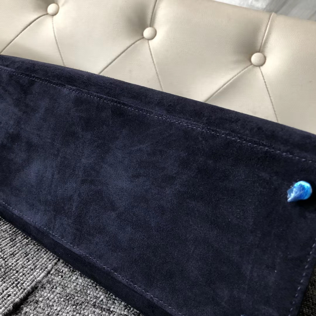 Hermes Kelly 28cm Sellier 外縫麂皮羊皮反絨 CK73寶石藍 Blue sapphire