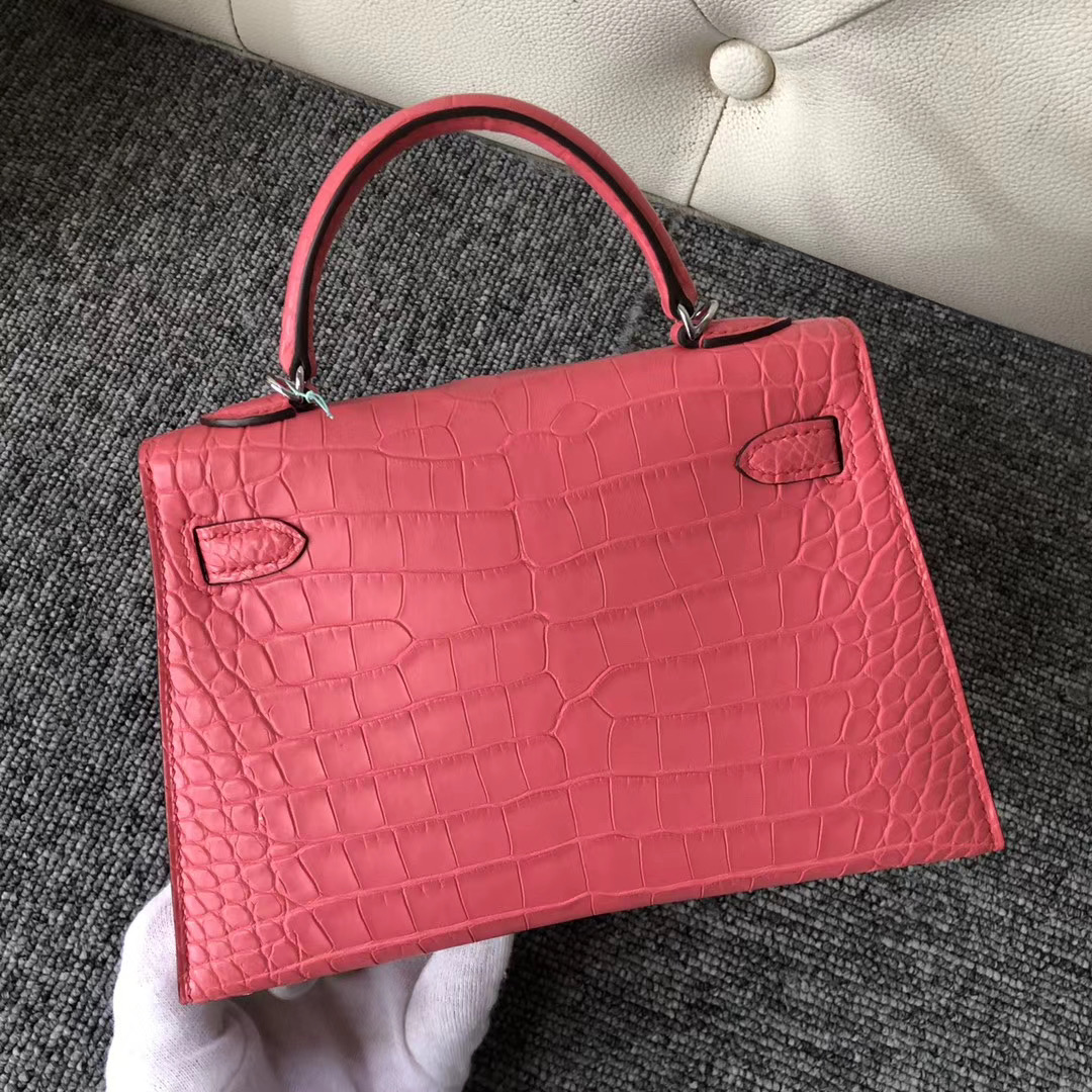 Hermes Kelly Mini 2代 Matte Alligator Crocodile A5 Bouganinviller 杜鵑紅