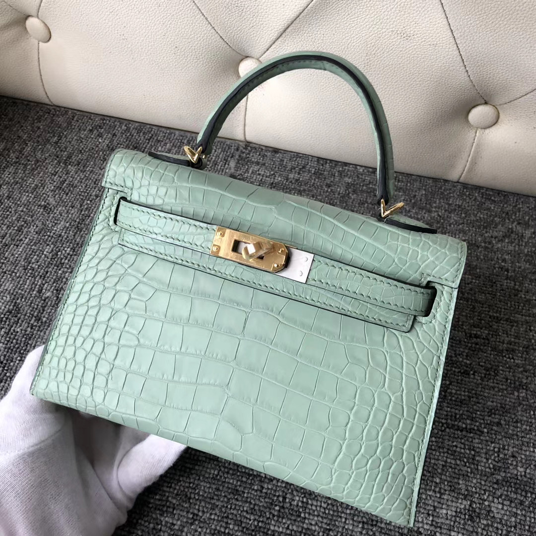 Hermes Kelly Mini 2代 Alligator Crocodile 6U新薄荷綠 vert deau