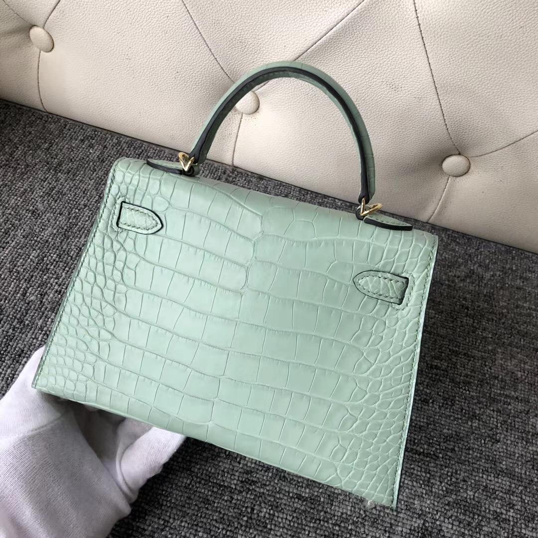 Hermes Kelly Mini 2代 Alligator Crocodile 6U新薄荷綠 vert deau