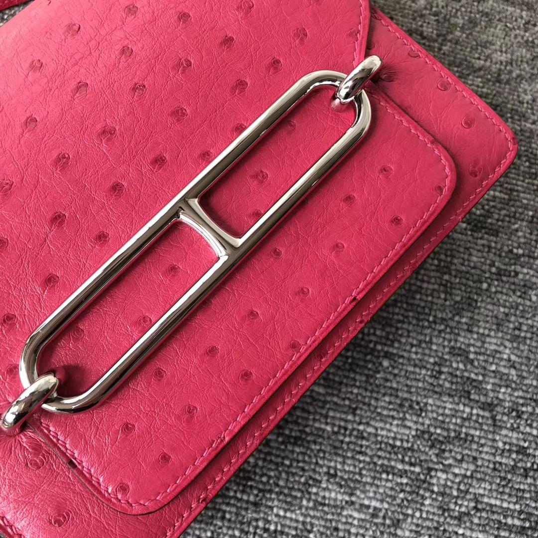 臺灣臺南市 Hermes Roulis 18cm Ostrich 南非鴕鳥皮 E5 Rose Tyren 桃紅色