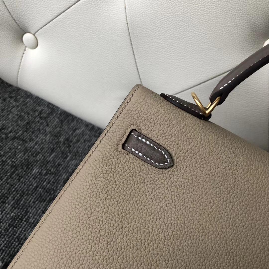 Hermes Kelly 25cm Togo Sellier S2風衣灰 拼 CK18大象灰 外縫 拉絲金扣