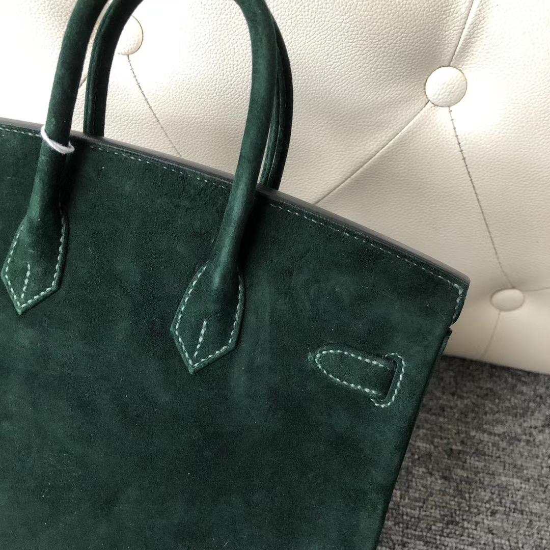 香港西貢區 Hermes Birkin 25cm 麂皮 羊皮反絨 CK67 祖母綠 Vert Fonce