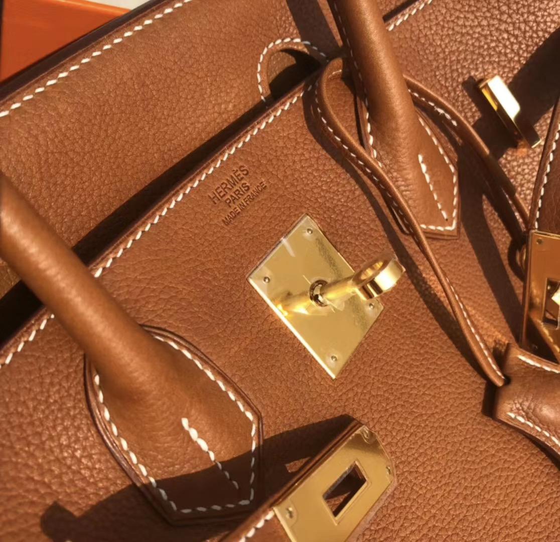 臺灣新北市 Hermes Birkin 30cm Barenia Novillo CK37Gold 金棕色 荔枝紋馬鞍皮