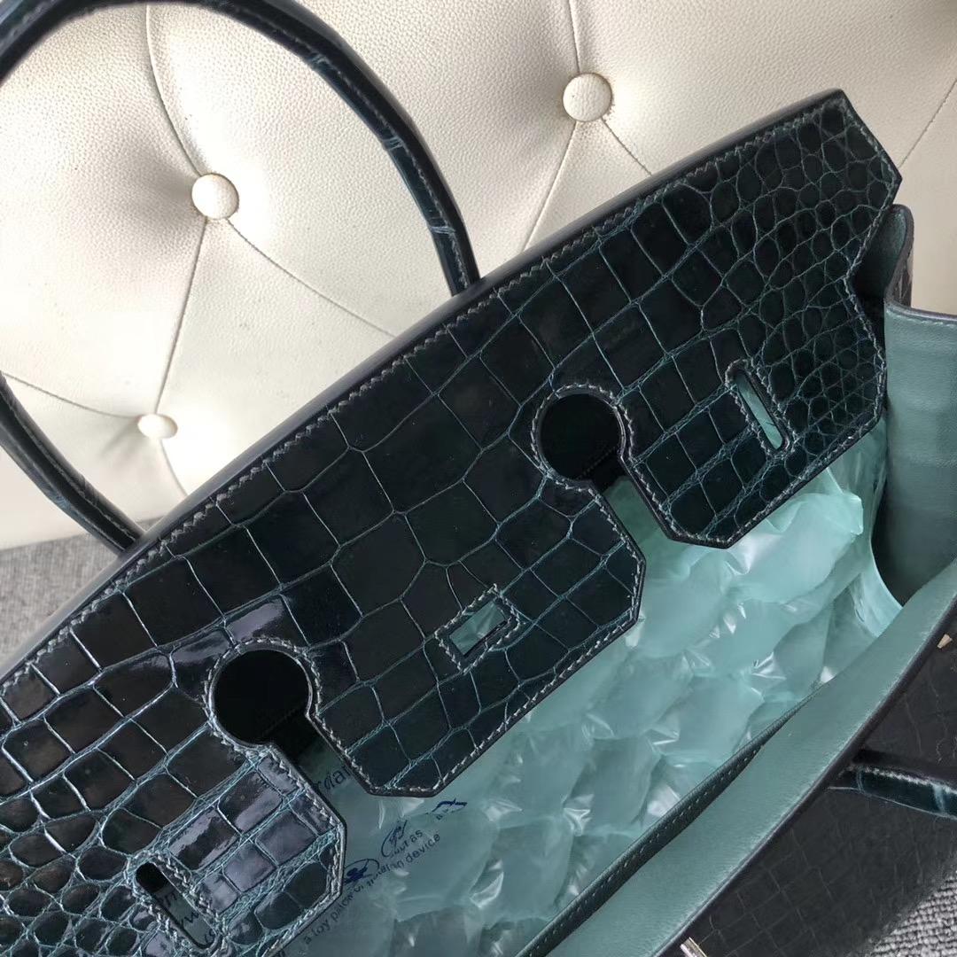 桃園市愛馬仕鉑金包 Hermes Birkin 35cm Porosus Crocodile 1P Blue Colvert