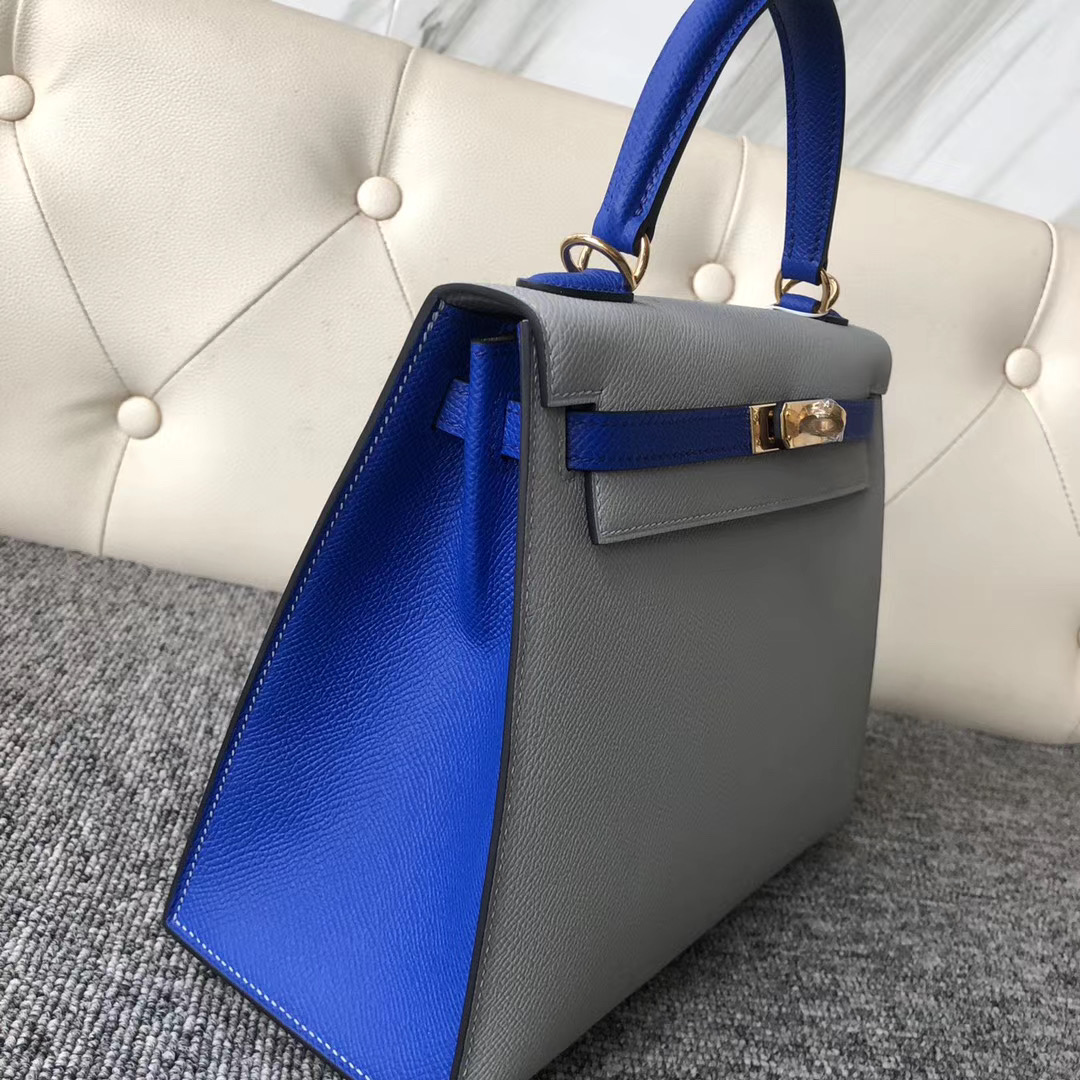 臺灣高雄市愛馬仕 Hermes Kelly 25cm 4Z Girls Mouette 7T Blue electric