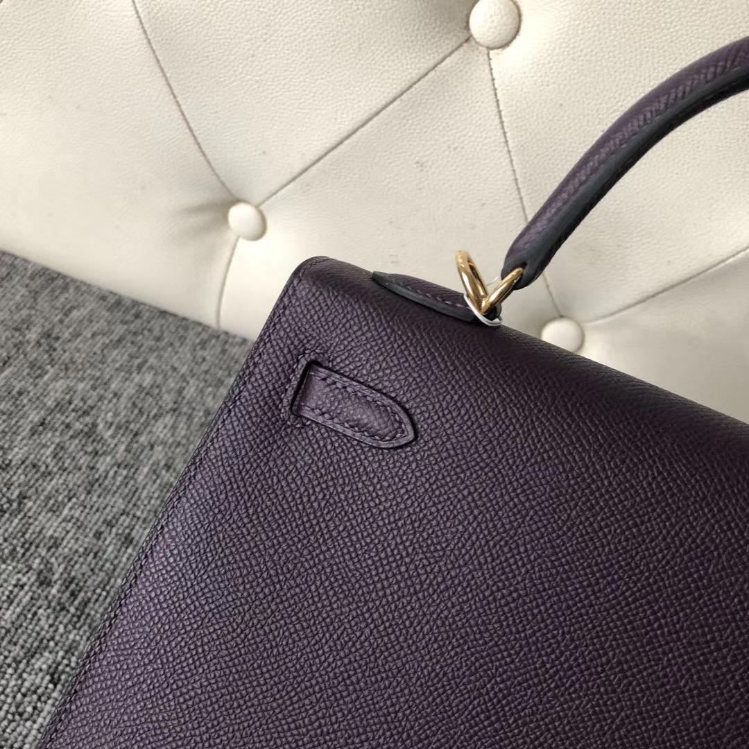 Hermes Kelly 25cm Epsom 59 葡萄紫 Raisin 拼 P9 Anemone 海葵紫