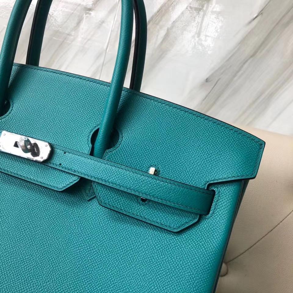 臺灣高雄市愛馬仕鉑金包35價格定制 Hermes Birkin 35cm 7F Blue Paon 孔雀藍