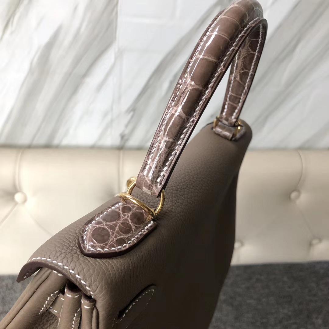 香港元朗區愛馬仕凱莉包 Hermes Kelly Touch 28cm CK18 Etoupe 大象灰
