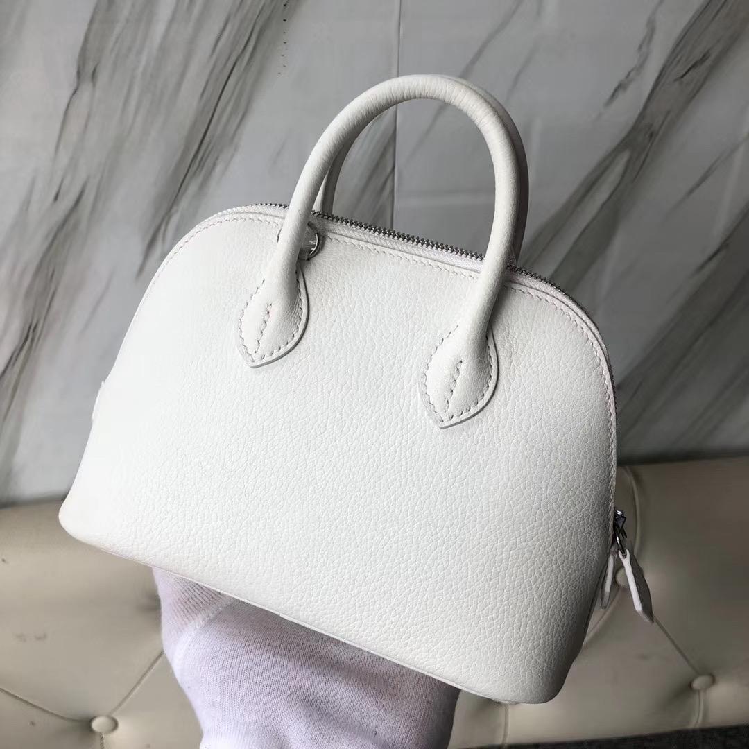 香港油尖旺區愛馬仕迷妳保齡球包 Hermes Mini Bolide Chevre 01純白White