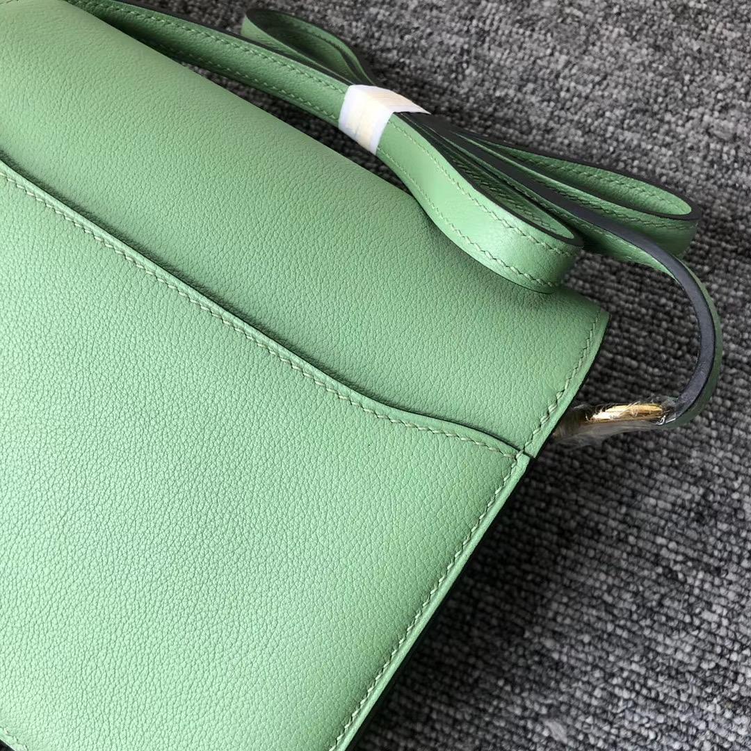 香港荃灣區 愛馬仕豬鼻子包 Hermes Roulis 23cm Evercolor 3I 牛油果綠 Vert Criquet
