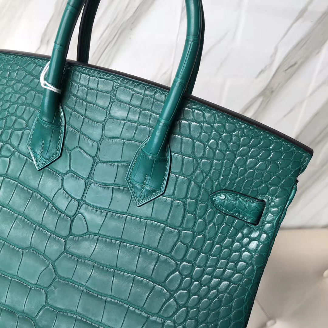 Hermes Birkin 25cm Z6孔雀綠 Malachite Matte Alligator Crocodile