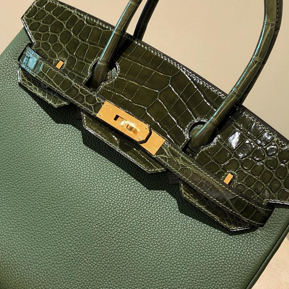香港油尖旺區愛馬仕鉑金包定制 Hermes Birkin 30cm Touch V6叢林綠/橄欖綠