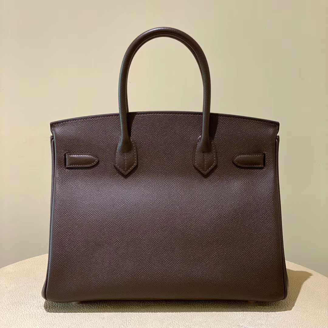 香港油尖旺區愛馬仕鉑金包 Hermes Birkin 30cm CD47 chocolate 咖啡色 玫瑰金扣