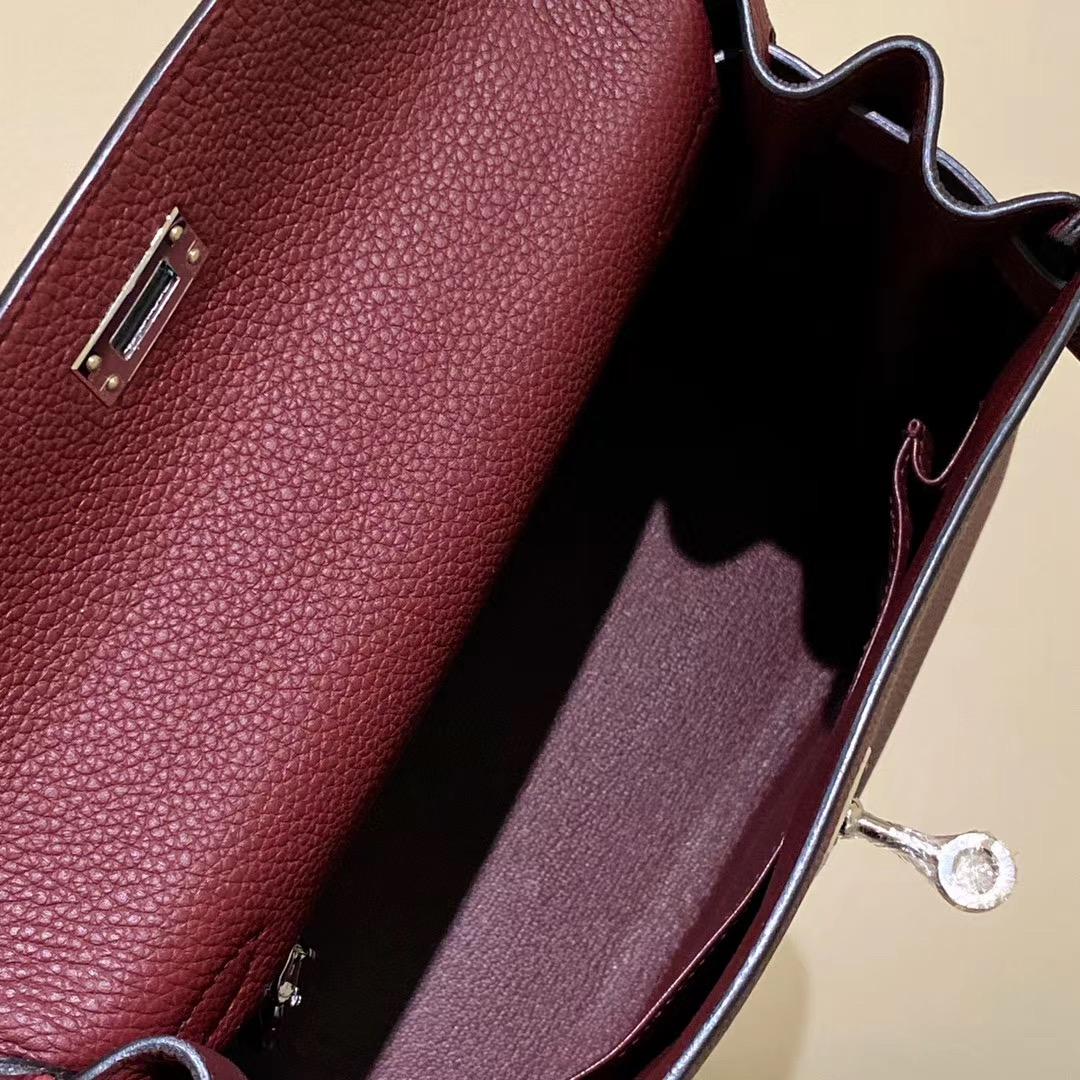 香港九龍城區愛馬仕凱莉包包 Hermes Kelly Togo 25cm CK57 Bordeaux 波爾多酒紅