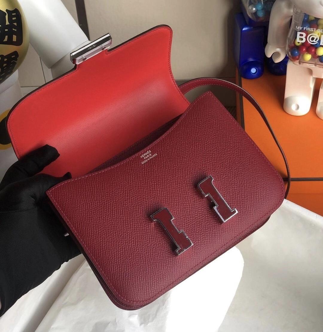 Hermes Mini Constance Epsom K1 Rouge Grenat 內拼 T5 Rose Jaipur 琺瑯扣
