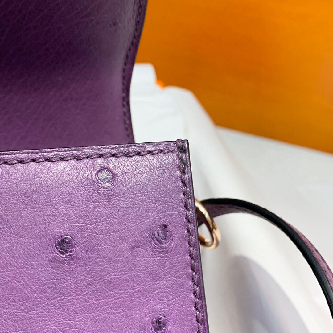 愛馬仕豬鼻子包 Hermes Roulis mini P9 Anemone 海葵紫 原廠KK南非鴕鳥皮