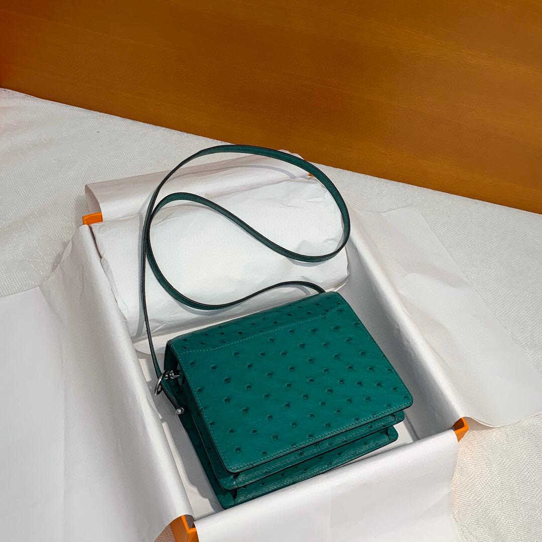 Hermes Roulis mini U4 Vert Verigo 絲絨綠 Ostrich 禦用原廠KK南非鴕鳥皮