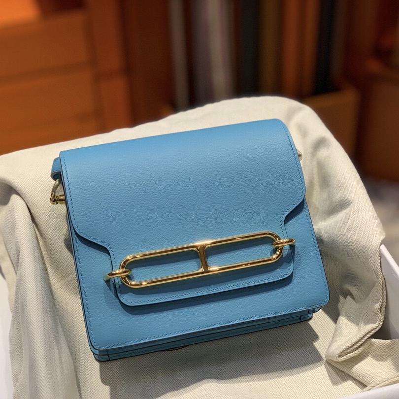 Hermes Roulis mini Evercolor P3 Blue de nord 北方藍 全手工蜜蠟線縫製