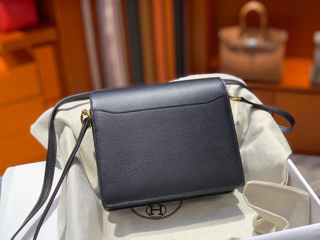 愛馬仕豬鼻子包 Hermes Roulis mini Evercolor CC89 Noir 黑色 全手工蜜蠟線縫製