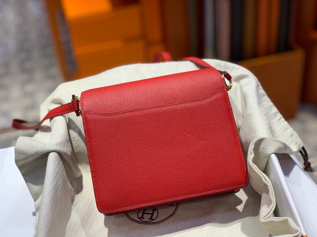 愛馬仕豬鼻子包 Hermes Roulis mini Evercolor S3 心紅色 Rose De Coeur 全手工蜜蠟線縫製