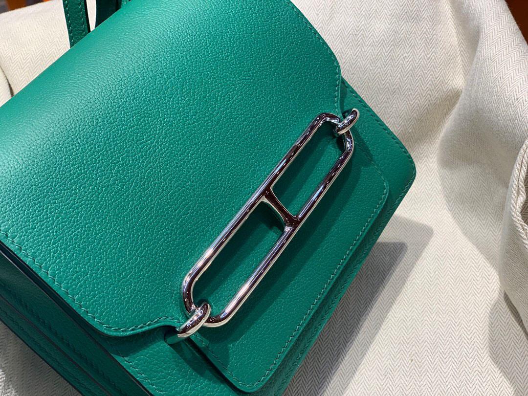 愛馬仕豬鼻子包 Hermes Roulis mini Evercolor U4 Vert Verigo 絲絨綠
