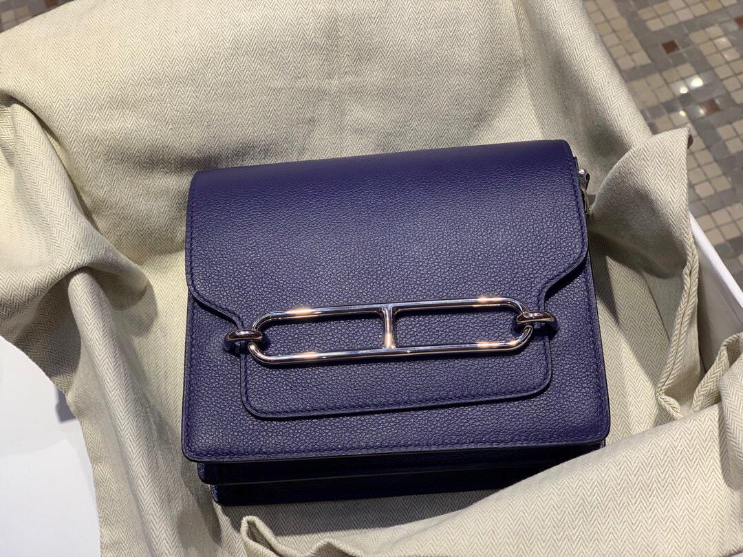 灣仔區銅鑼灣 愛馬仕豬鼻子包 Hermes Roulis mini Evercolor M3 Blue Encre 墨水藍