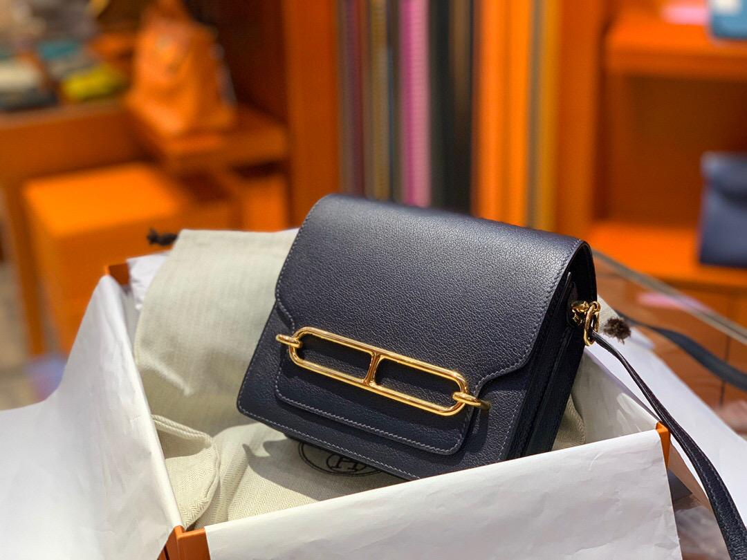 愛馬仕豬鼻子包包價格 Hermes Roulis mini Evercolor 2Z Blue Nuit 午夜蓝