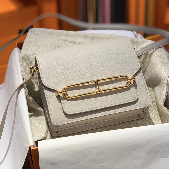 Hermes Roulis mini Evercolor CK80 Gris Perle 珍珠灰 全手工蜜蠟線縫製