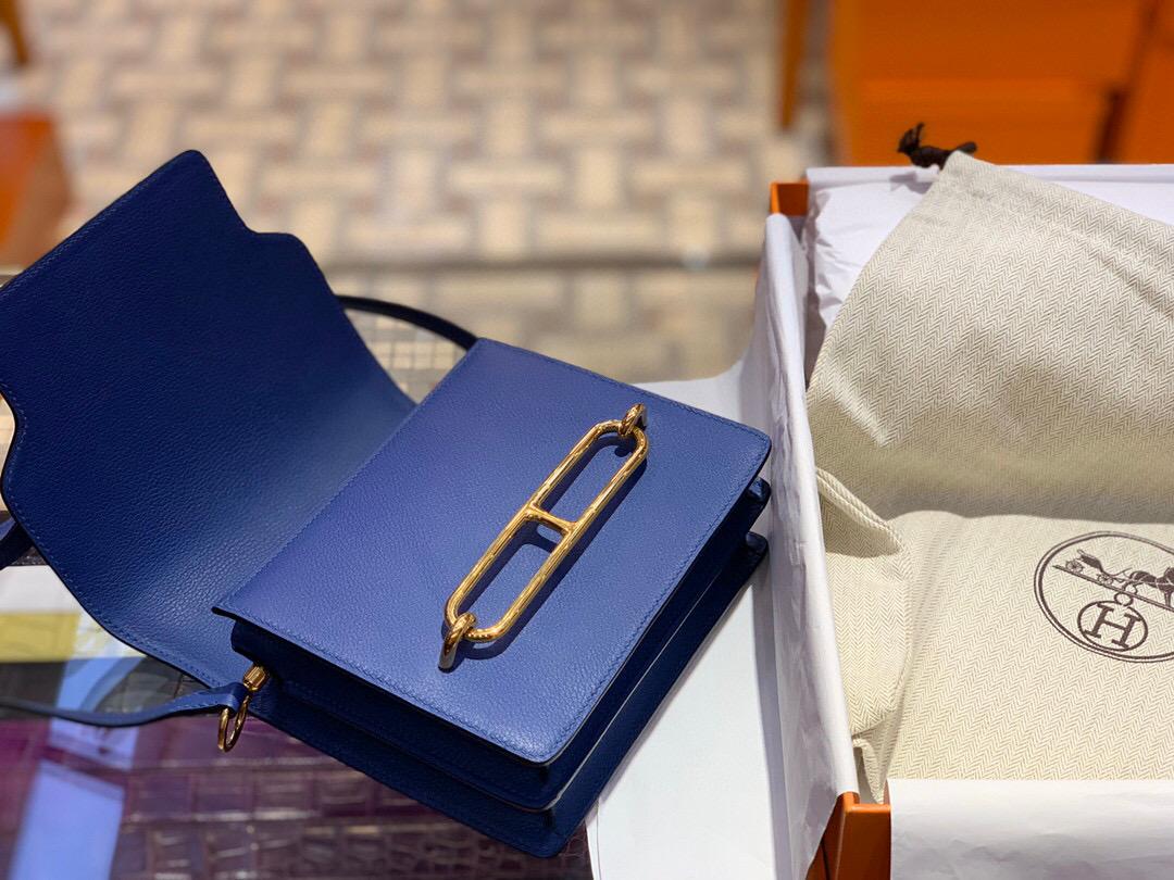 Hermes Roulis mini Evercolor CK7E Bleu Brighton 明藍色