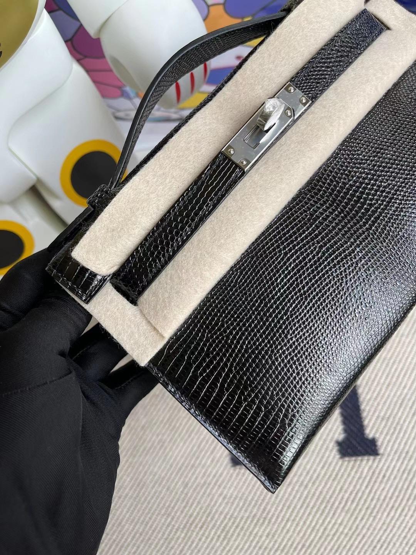香港灣仔區銅鑼灣 Hermes MiniKelly Pochette Lizard CK89 Noir黑色蜥蜴皮銀扣