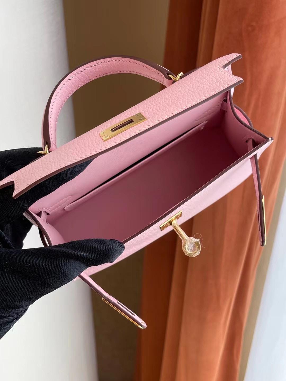 臺灣桃園縣 愛馬仕迷你凱莉二代 Hermes Kelly mini II 2代 3Q Rose Sakura 新櫻花粉 山羊皮