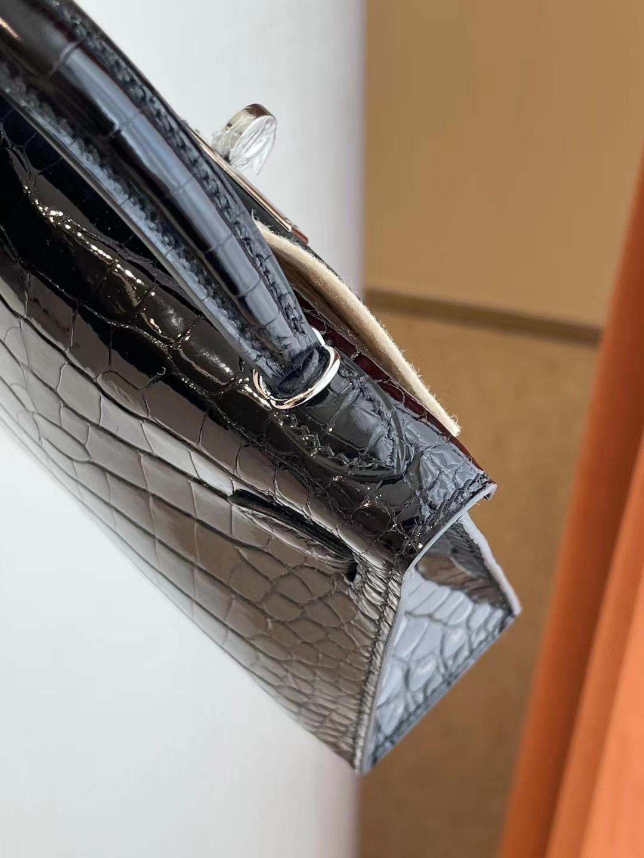 臺灣桃園市平鎮區 愛馬仕迷你凱莉二代 Hermes Kelly mini II CC89 Noir 黑色 亮面美洲鱷魚