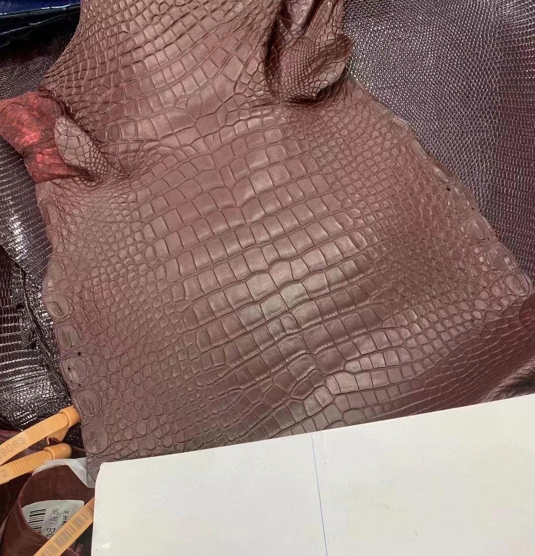 愛馬仕皮革 Hermes 57 Bordeaux 波爾多酒紅 霧面美洲鱷魚